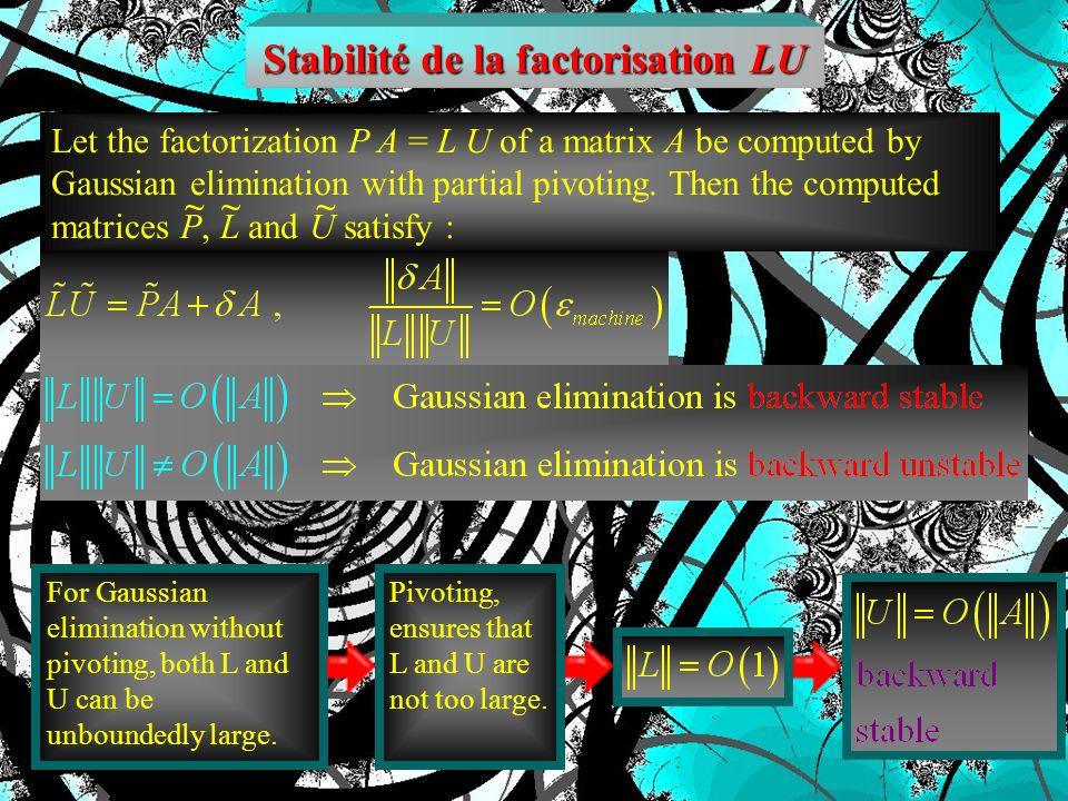 P = 1 Matrices spéciales (pas de stratégie de pivoting dans la factorisation LU) A est diagonalement dominante A est une M-matrice A est une matrice s