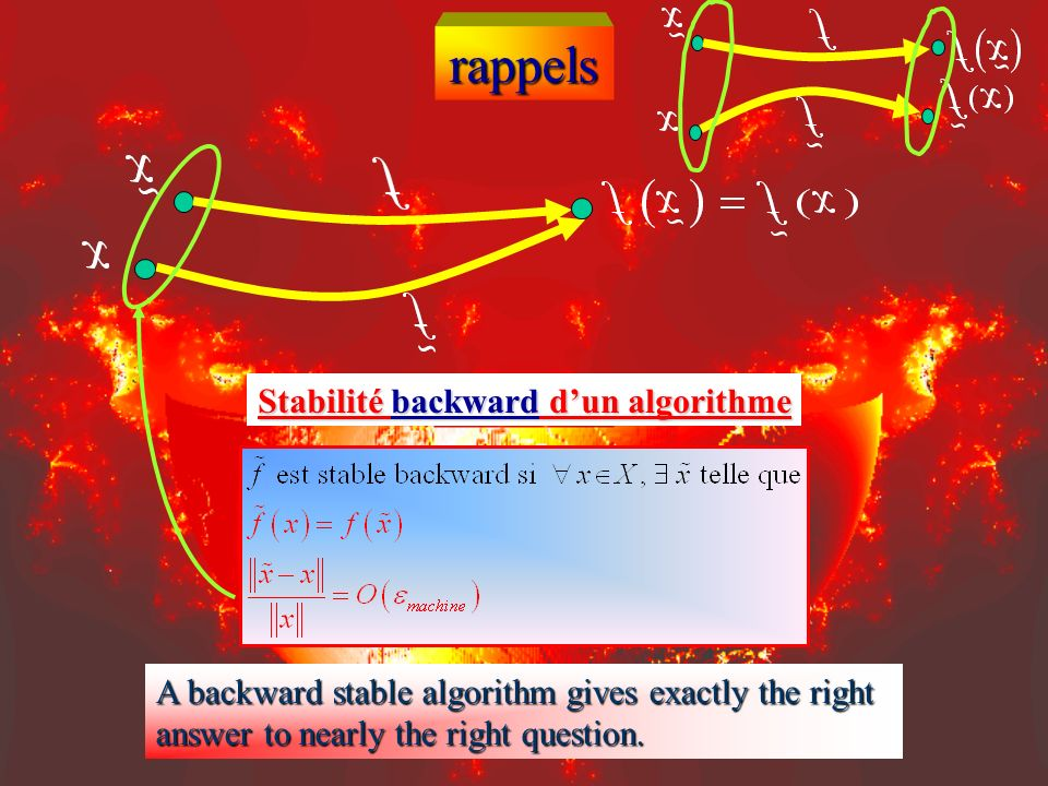 rappels Stabilité backward dun algorithme A backward stable algorithm gives exactly the right answer to nearly the right question.