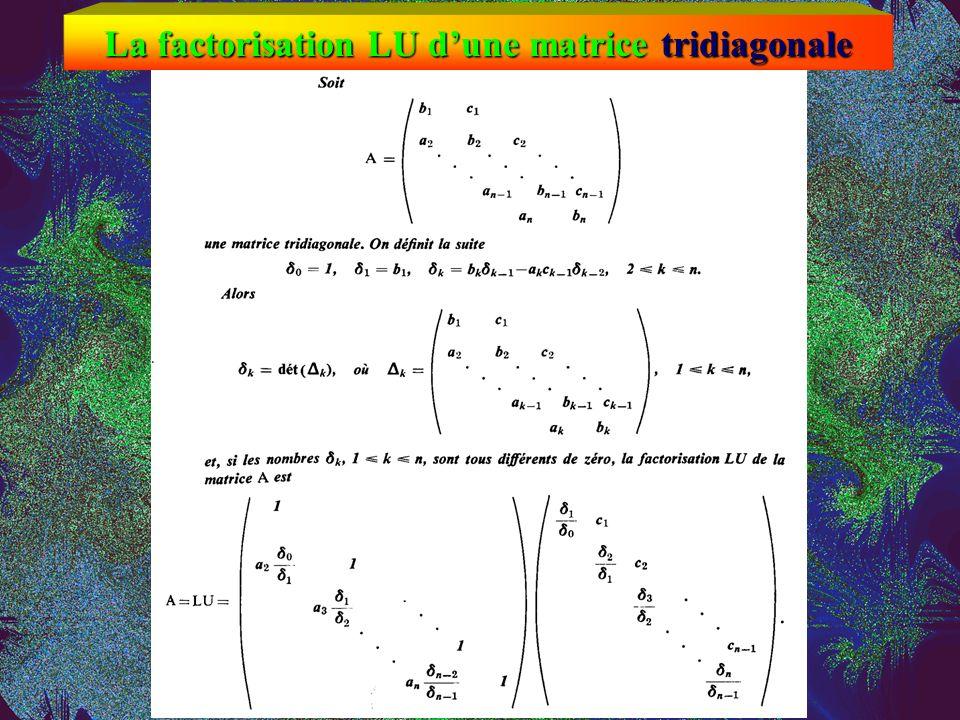Stabilité de la factorisation LU Despite this example, Gaussian elimination with partial pivoting is utterly stable in practice. Large factors U never