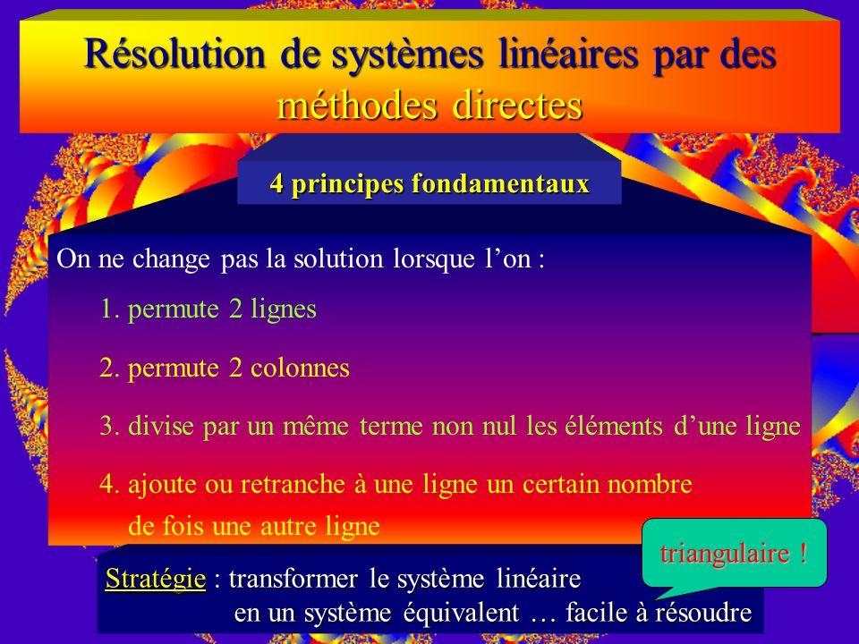Résolution de systèmes linéaires Théorème de Rouché-Capelli La solution dun système linéaire (A carrée inversible n x n) ne sobtient pas en calculant