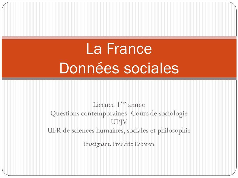 Licence 1 ère année Questions contemporaines -Cours de sociologie UPJV UFR de sciences humaines, sociales et philosophie Enseignant: Frédéric Lebaron