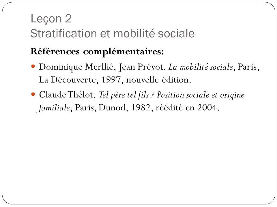 Leçon 2 Stratification et mobilité sociale Références complémentaires: Dominique Merllié, Jean Prévot, La mobilité sociale, Paris, La Découverte, 1997