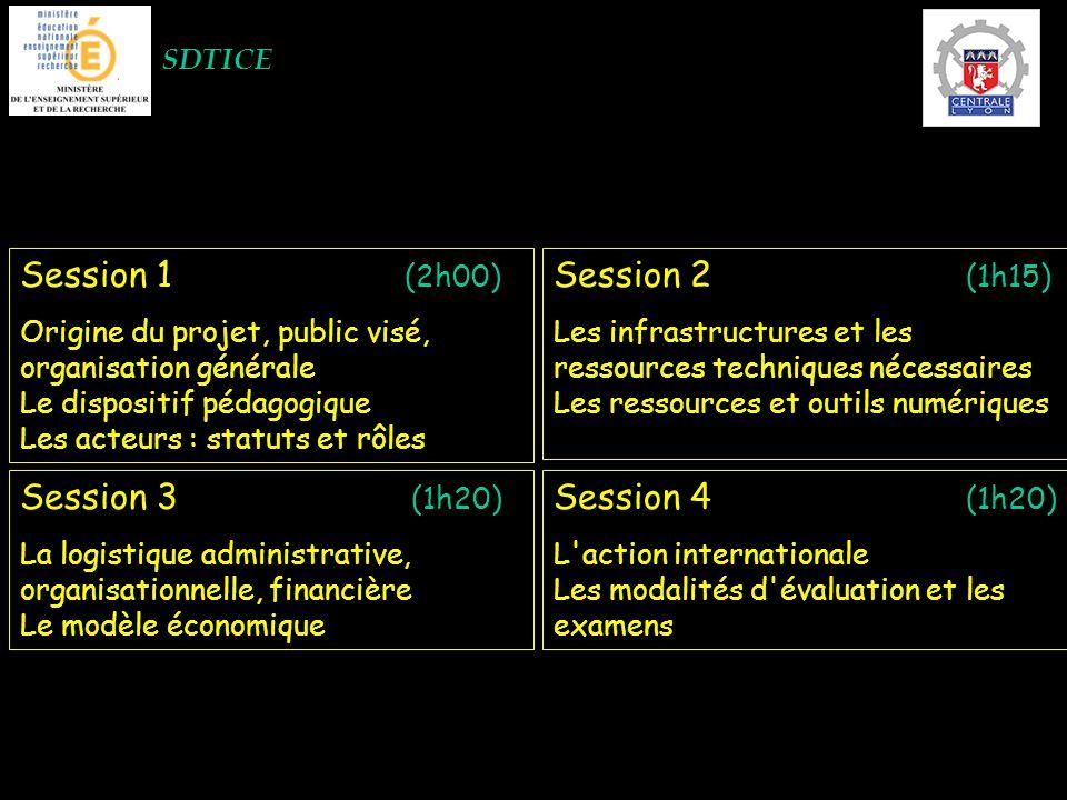 SDTICE Session 1 (2h00) Origine du projet, public visé, organisation générale Le dispositif pédagogique Les acteurs : statuts et rôles Session 2 (1h15) Les infrastructures et les ressources techniques nécessaires Les ressources et outils numériques Session 3 (1h20) La logistique administrative, organisationnelle, financière Le modèle économique Session 4 (1h20) L action internationale Les modalités d évaluation et les examens