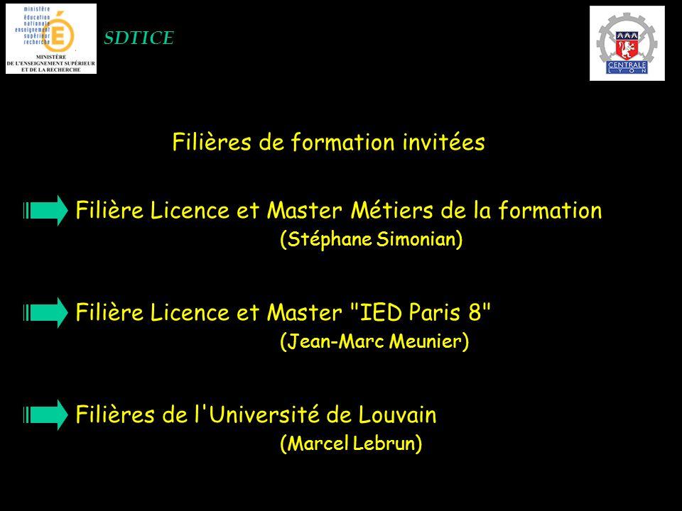 SDTICE Filières de formation invitées Filière Licence et Master Métiers de la formation (Stéphane Simonian) Filière Licence et Master IED Paris 8 (Jean-Marc Meunier) Filières de l Université de Louvain (Marcel Lebrun)