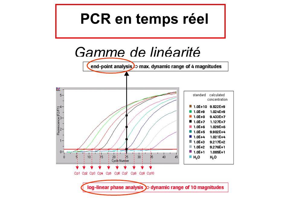 Gamme de linéarité PCR en temps réel