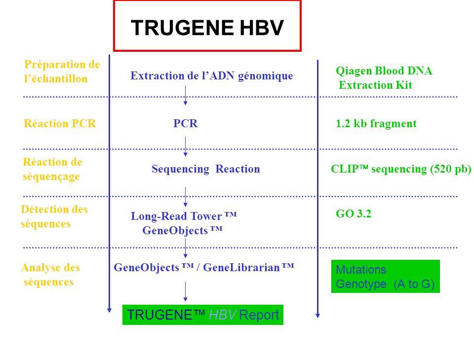 TRUGENE HBV Analyse des séquences GeneObjects / GeneLibrarian TRUGENE HBV Report Préparation de léchantillon Extraction de lADN génomique Qiagen Blood