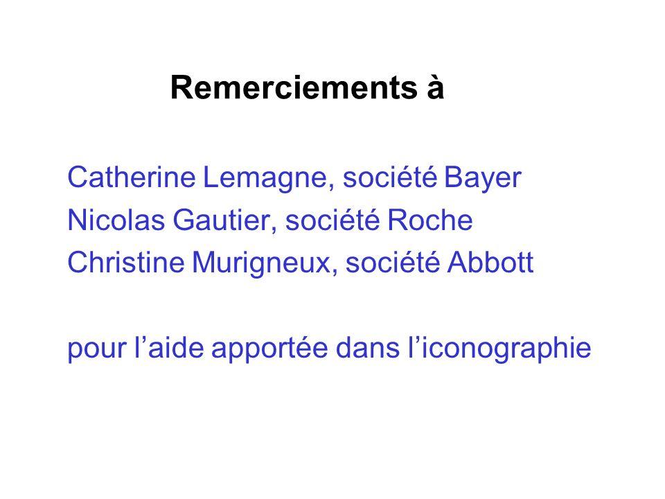 Remerciements à Catherine Lemagne, société Bayer Nicolas Gautier, société Roche Christine Murigneux, société Abbott pour laide apportée dans liconogra