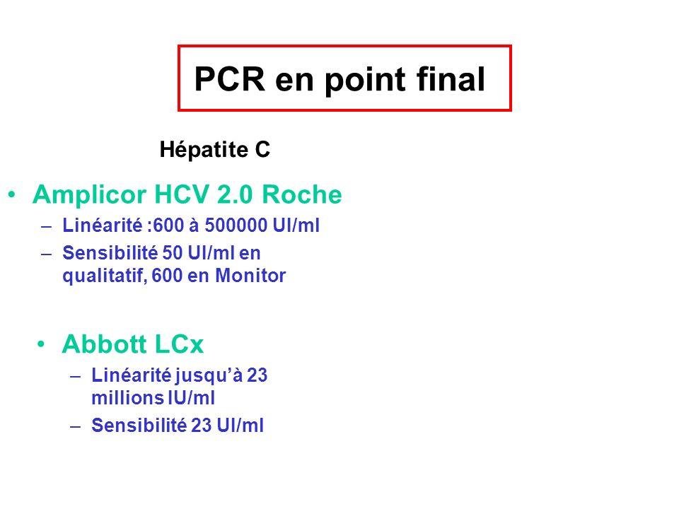 PCR en point final Amplicor HCV 2.0 Roche –Linéarité :600 à 500000 UI/ml –Sensibilité 50 UI/ml en qualitatif, 600 en Monitor Abbott LCx –Linéarité jus