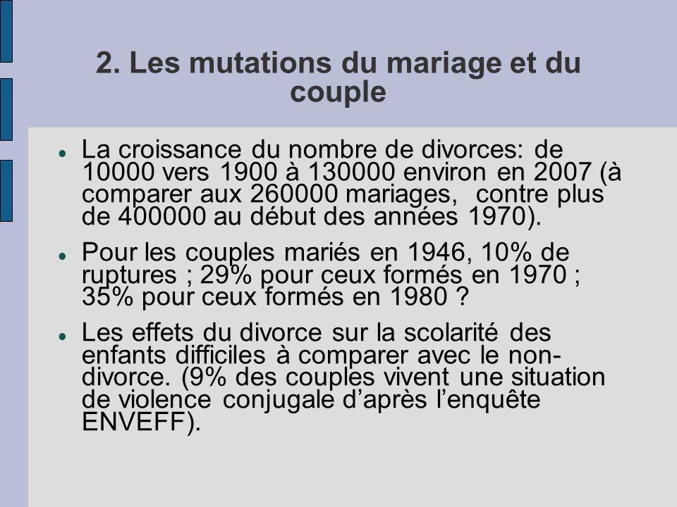 2. Les mutations du mariage et du couple La croissance du nombre de divorces: de 10000 vers 1900 à 130000 environ en 2007 (à comparer aux 260000 maria