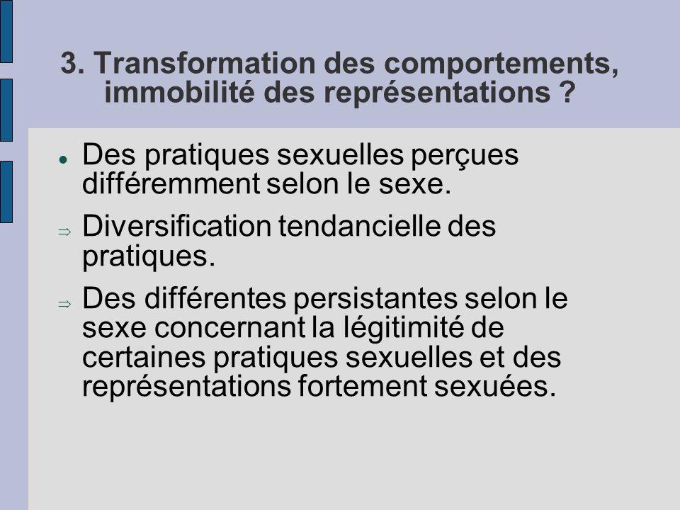 3. Transformation des comportements, immobilité des représentations ? Des pratiques sexuelles perçues différemment selon le sexe. Diversification tend
