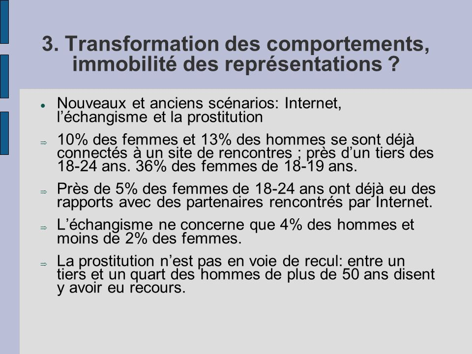 3. Transformation des comportements, immobilité des représentations ? Nouveaux et anciens scénarios: Internet, léchangisme et la prostitution 10% des