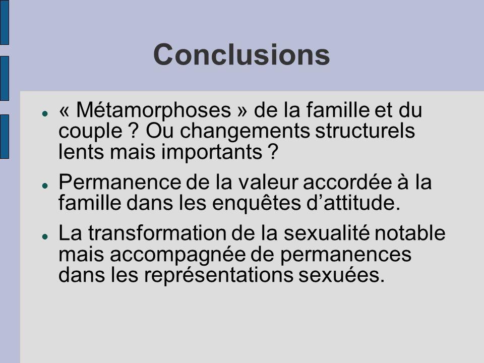 Conclusions « Métamorphoses » de la famille et du couple ? Ou changements structurels lents mais importants ? Permanence de la valeur accordée à la fa