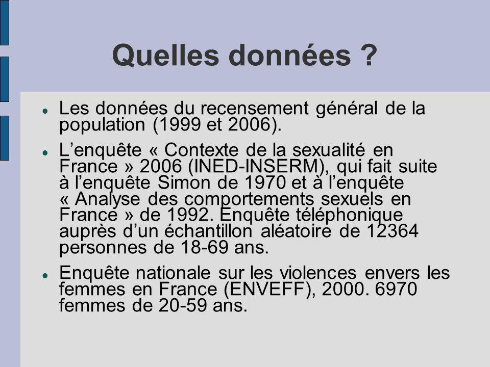 Quelles données ? Les données du recensement général de la population (1999 et 2006). Lenquête « Contexte de la sexualité en France » 2006 (INED-INSER