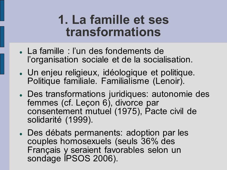 1. La famille et ses transformations La famille : lun des fondements de lorganisation sociale et de la socialisation. Un enjeu religieux, idéologique