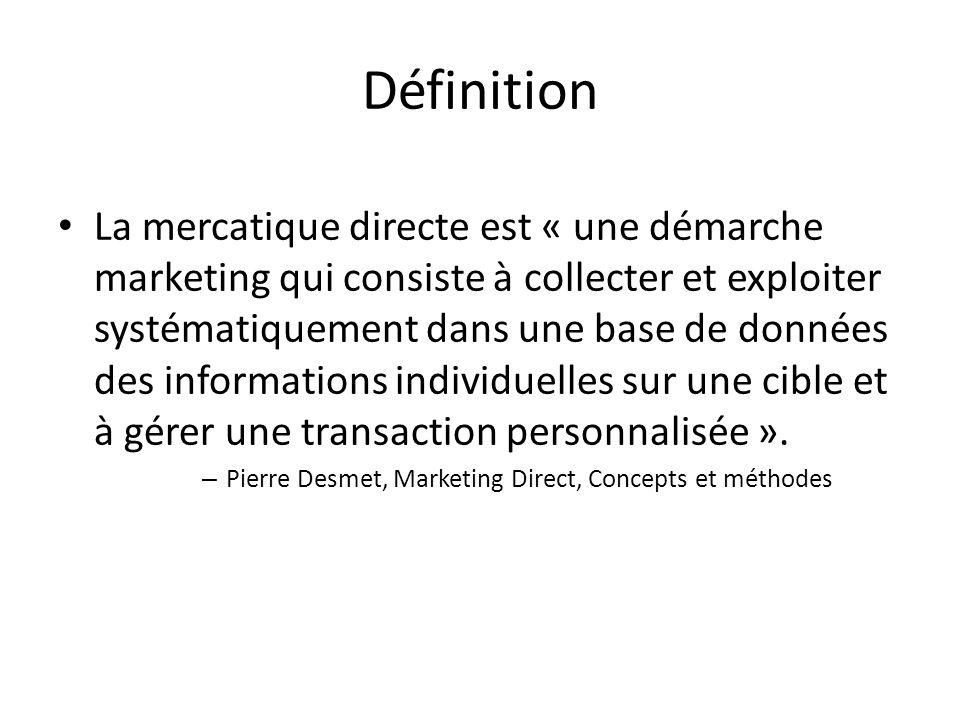 Définition La mercatique directe est « une démarche marketing qui consiste à collecter et exploiter systématiquement dans une base de données des info