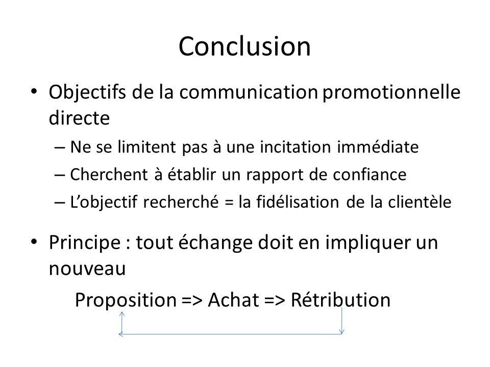 Conclusion Objectifs de la communication promotionnelle directe – Ne se limitent pas à une incitation immédiate – Cherchent à établir un rapport de co