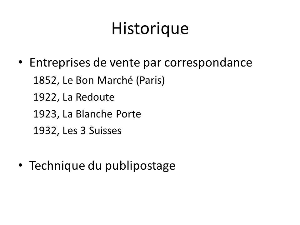 Historique Entreprises de vente par correspondance 1852, Le Bon Marché (Paris) 1922, La Redoute 1923, La Blanche Porte 1932, Les 3 Suisses Technique d