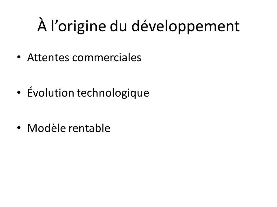 À lorigine du développement Attentes commerciales Évolution technologique Modèle rentable