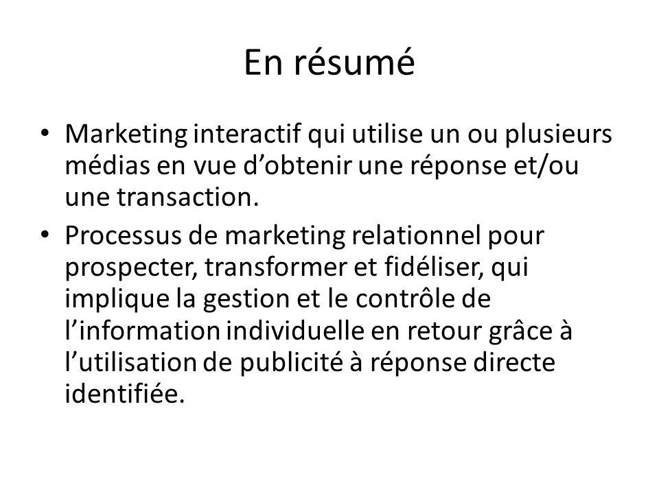 En résumé Marketing interactif qui utilise un ou plusieurs médias en vue dobtenir une réponse et/ou une transaction. Processus de marketing relationne