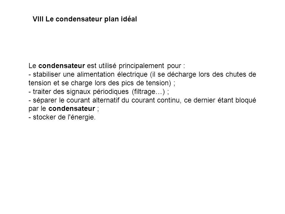 VIII Le condensateur plan idéal Le condensateur est utilisé principalement pour : - stabiliser une alimentation électrique (il se décharge lors des ch