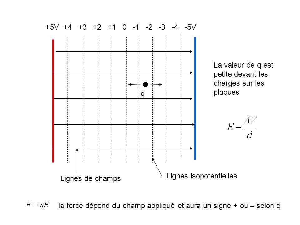 +5V +4 +3 +2 +1 0 -1 -2 -3 -4 -5V q Lignes isopotentielles Lignes de champs la force dépend du champ appliqué et aura un signe + ou – selon q La valeu
