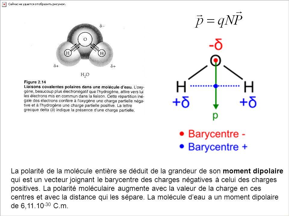 La polarité de la molécule entière se déduit de la grandeur de son moment dipolaire qui est un vecteur joignant le barycentre des charges négatives à