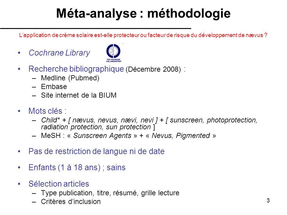 3 Cochrane Library Recherche bibliographique (Décembre 2008) : –Medline (Pubmed) –Embase –Site internet de la BIUM Mots clés : –Child* + [ nævus, nevu