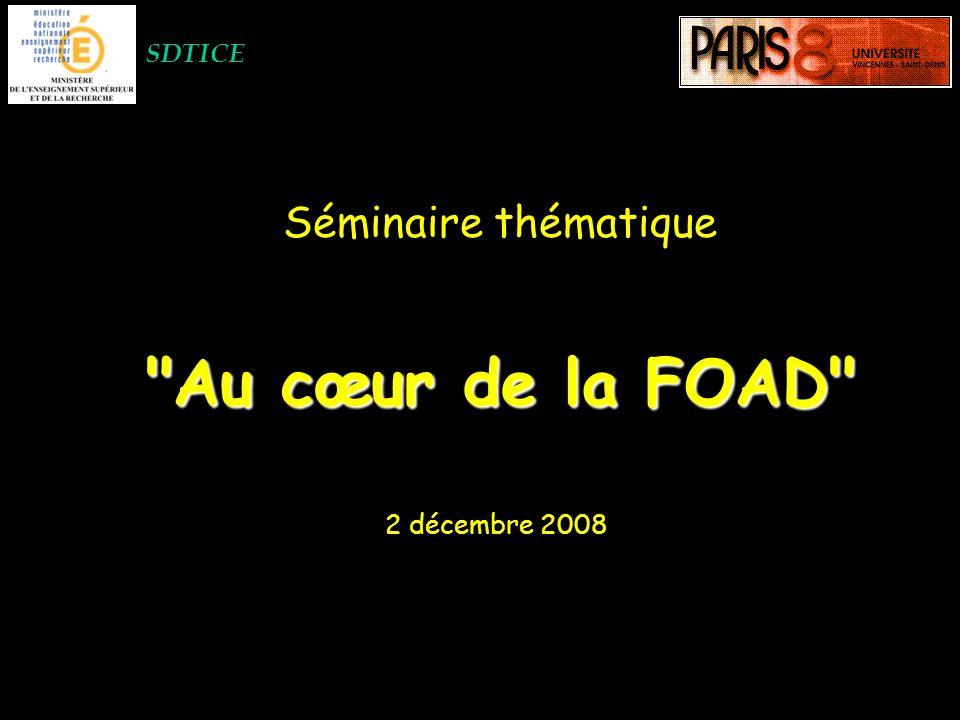 SDTICE Séminaire thématique Au cœur de la FOAD 2 décembre 2008