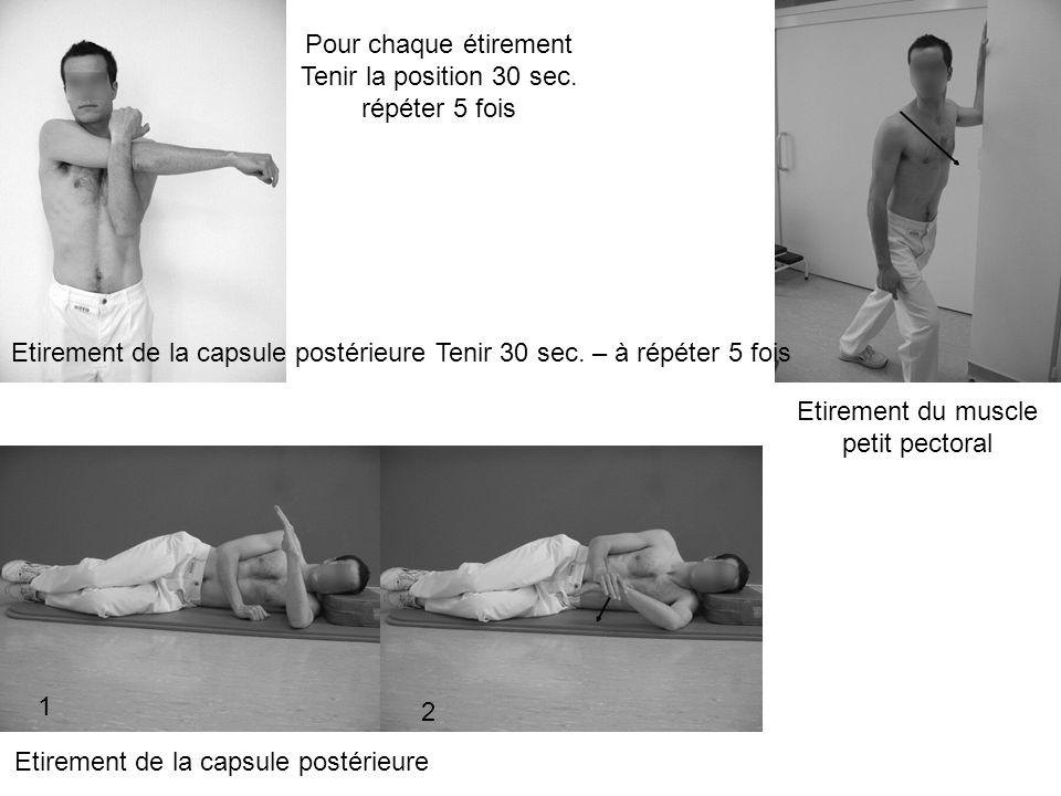 Etirement de la capsule postérieure Tenir 30 sec. – à répéter 5 fois Etirement du muscle petit pectoral Etirement de la capsule postérieure 1 2 Pour c