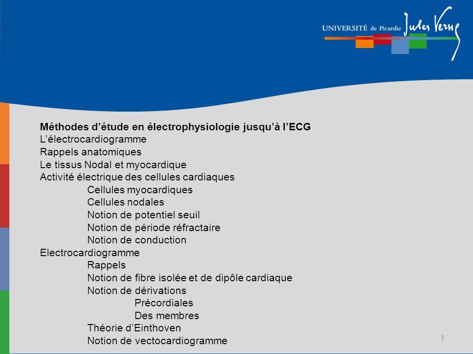 1 Méthodes détude en électrophysiologie jusquà lECG Lélectrocardiogramme Rappels anatomiques Le tissus Nodal et myocardique Activité électrique des ce