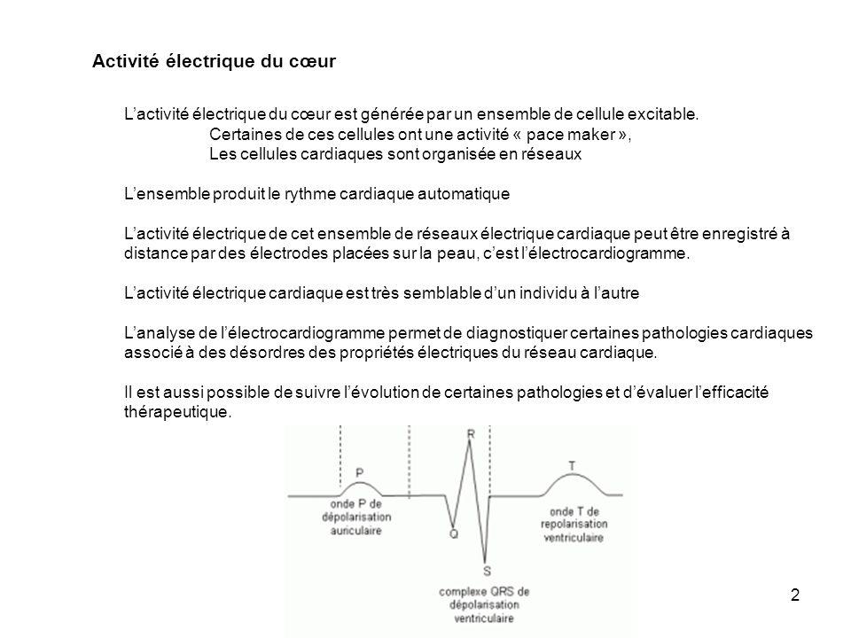2 Activité électrique du cœur Lactivité électrique du cœur est générée par un ensemble de cellule excitable. Certaines de ces cellules ont une activit