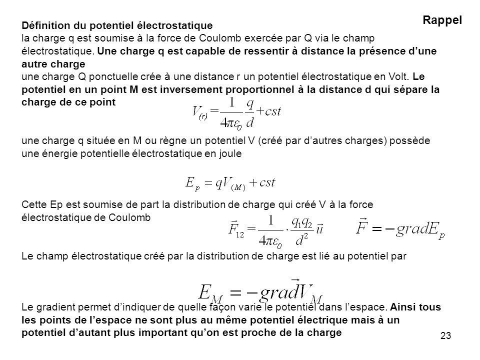 23 Définition du potentiel électrostatique la charge q est soumise à la force de Coulomb exercée par Q via le champ électrostatique. Une charge q est