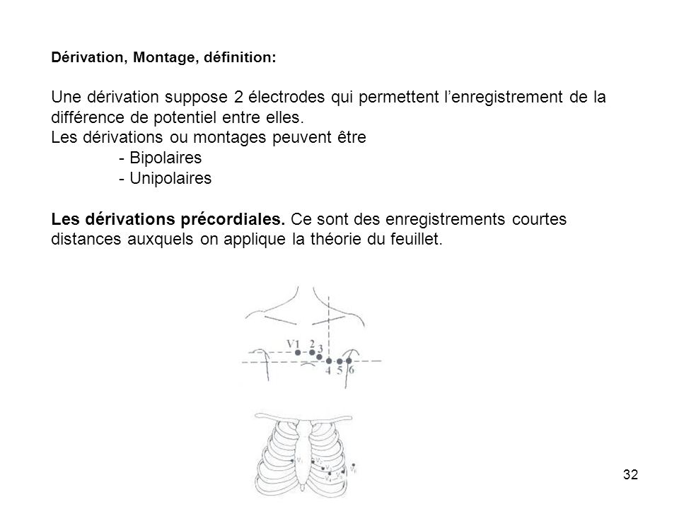 32 Dérivation, Montage, définition: Une dérivation suppose 2 électrodes qui permettent lenregistrement de la différence de potentiel entre elles. Les