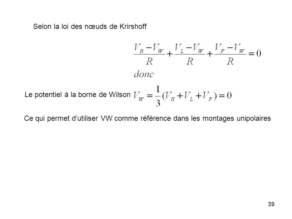 39 Selon la loi des nœuds de Krirshoff Ce qui permet dutiliser VW comme référence dans les montages unipolaires Le potentiel à la borne de Wilson
