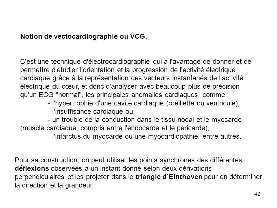 42 Notion de vectocardiographie ou VCG. C'est une technique d'électrocardiographie qui a l'avantage de donner et de permettre d'étudier l'orientation