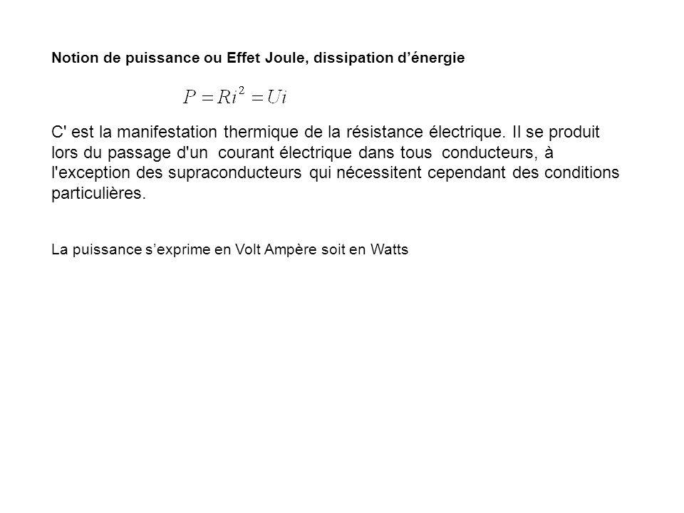 Notion de puissance ou Effet Joule, dissipation dénergie C' est la manifestation thermique de la résistance électrique. Il se produit lors du passage