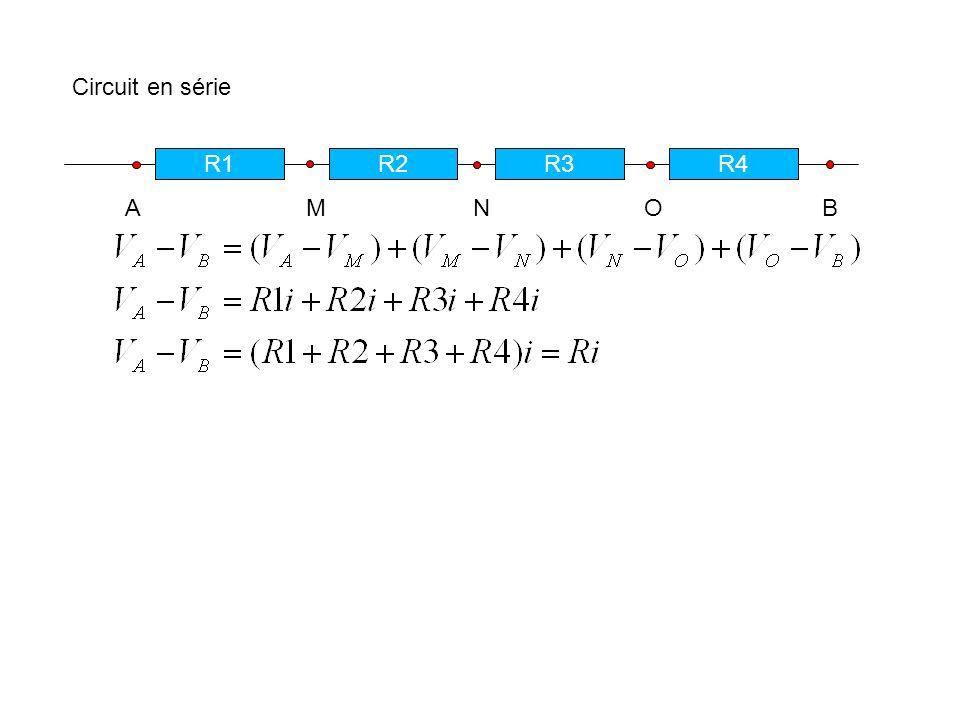 Circuit en série R1R2R3R4 A M N O B
