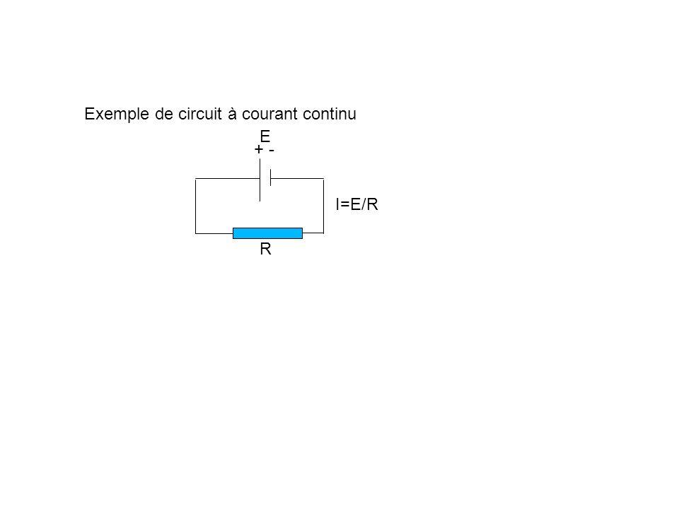 Exemple de circuit à courant continu E R I=E/R + -