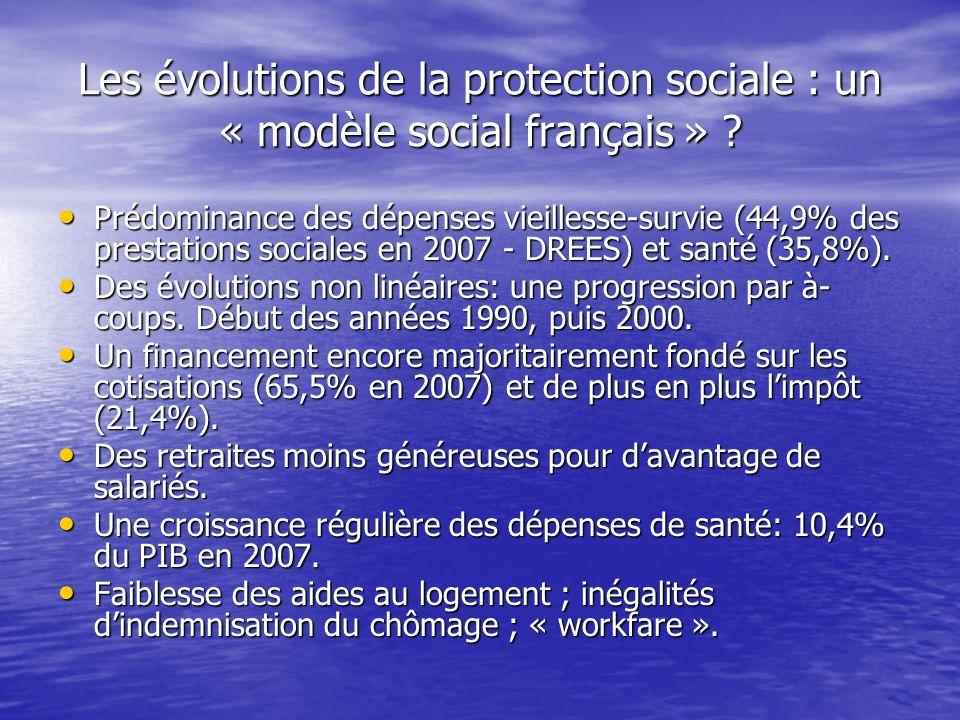 Les évolutions de la protection sociale : un « modèle social français » ? Prédominance des dépenses vieillesse-survie (44,9% des prestations sociales