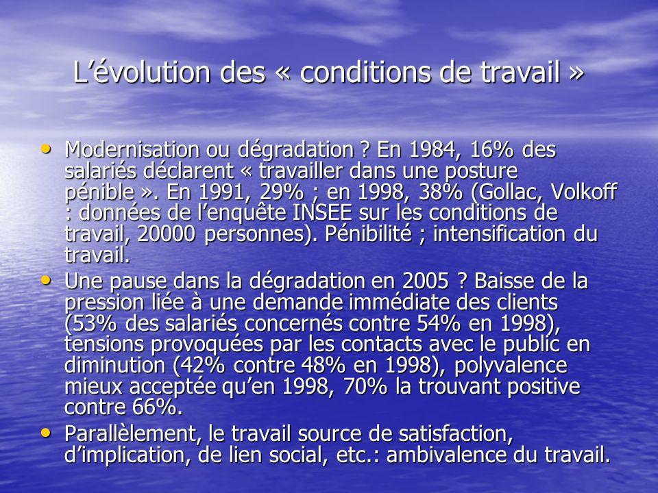 Lévolution des « conditions de travail » Modernisation ou dégradation ? En 1984, 16% des salariés déclarent « travailler dans une posture pénible ». E