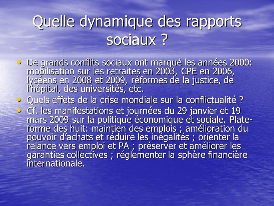 Quelle dynamique des rapports sociaux ? De grands conflits sociaux ont marqué les années 2000: mobilisation sur les retraites en 2003, CPE en 2006, ly