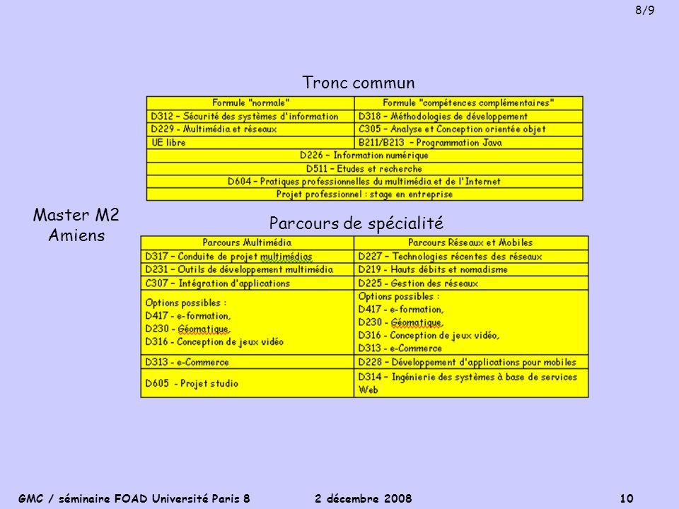 GMC / séminaire FOAD Université Paris 8 2 décembre 2008 10 Master M2 Amiens Tronc commun Parcours de spécialité 8/9