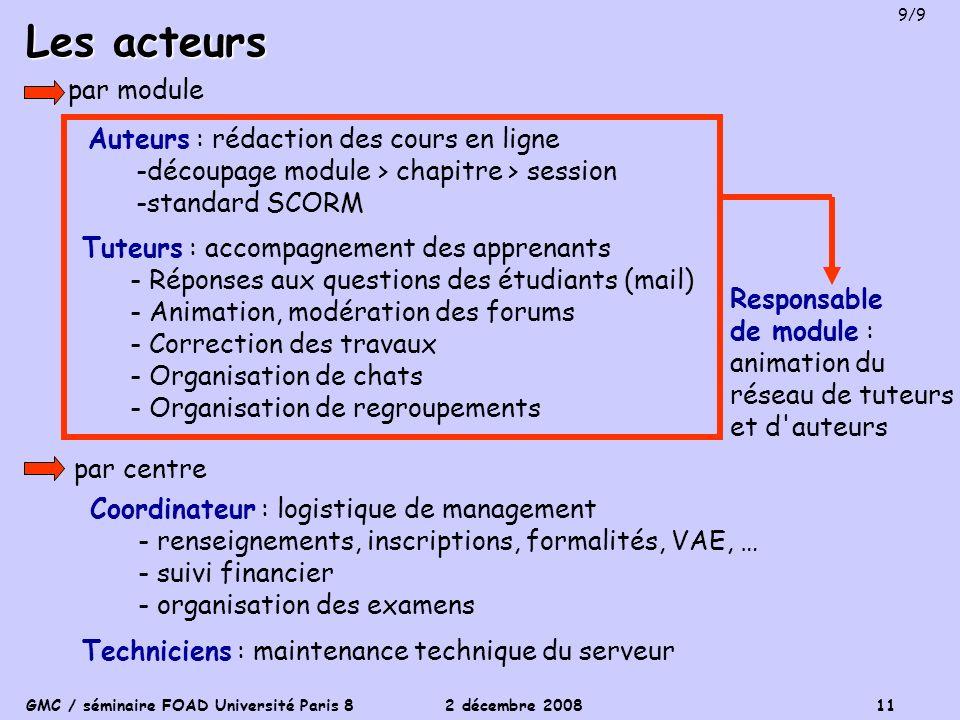 GMC / séminaire FOAD Université Paris 8 2 décembre 2008 11 Les acteurs Auteurs : rédaction des cours en ligne -découpage module > chapitre > session -