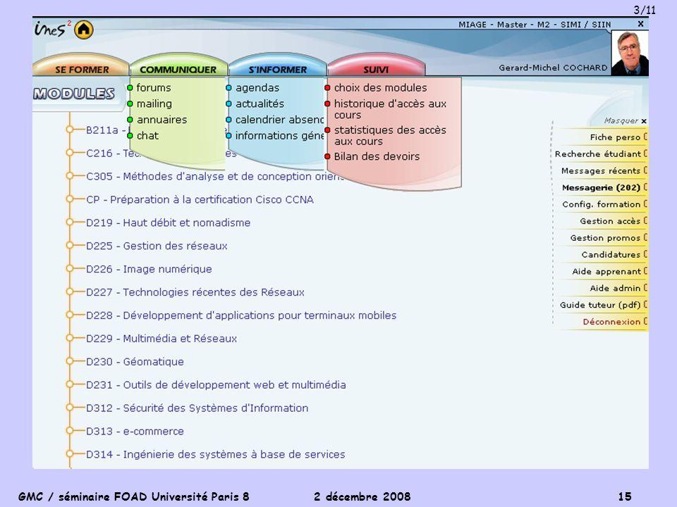 GMC / séminaire FOAD Université Paris 8 2 décembre 2008 15 3/11