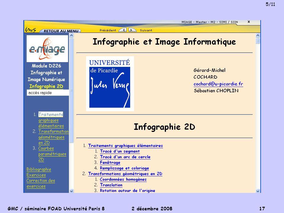 GMC / séminaire FOAD Université Paris 8 2 décembre 2008 17 5/11
