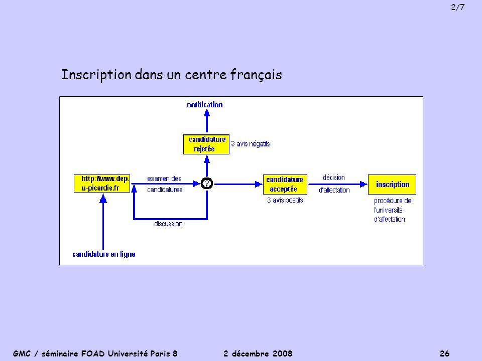 GMC / séminaire FOAD Université Paris 8 2 décembre 2008 26 Inscription dans un centre français 2/7