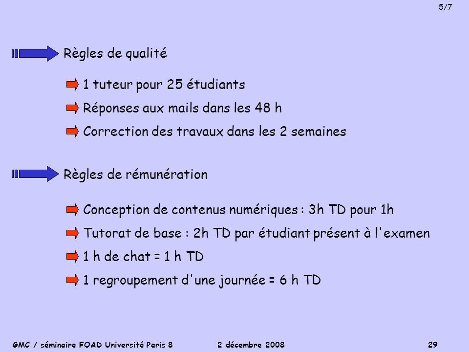 GMC / séminaire FOAD Université Paris 8 2 décembre 2008 29 Règles de qualité 1 tuteur pour 25 étudiants Réponses aux mails dans les 48 h Correction de