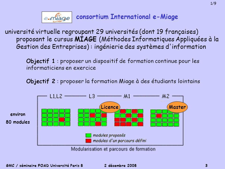 GMC / séminaire FOAD Université Paris 8 2 décembre 2008 3 consortium International e-Miage université virtuelle regroupant 29 universités (dont 19 fra