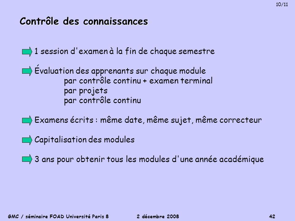GMC / séminaire FOAD Université Paris 8 2 décembre 2008 42 Contrôle des connaissances 1 session d'examen à la fin de chaque semestre Évaluation des ap