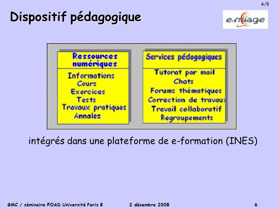 GMC / séminaire FOAD Université Paris 8 2 décembre 2008 6 Dispositif pédagogique intégrés dans une plateforme de e-formation (INES) 4/9